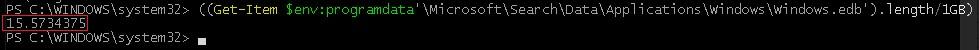 powershell команда чтобы узнать размер файла windows.edb в windows 10