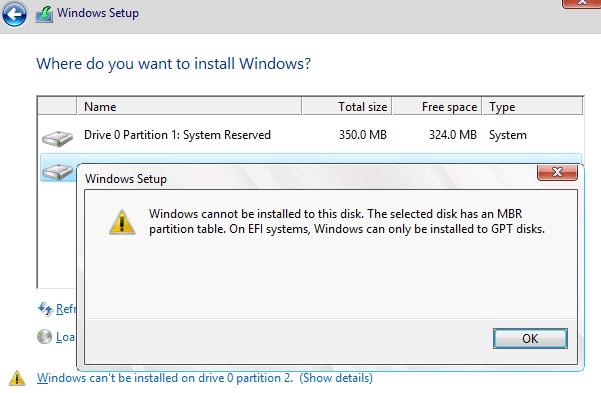 Установка Windows на данный раздел невозможно. На выбранном диске находится таблица MBR-разделов. В системах EFI Windows можно установить только на GPT-диск.