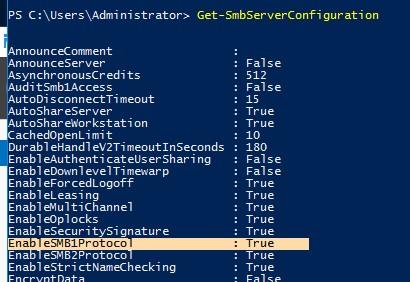 Get-SmbServerConfiguration протокол smb1 включен