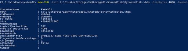 New-VHD - создать диск с помощью powershell
