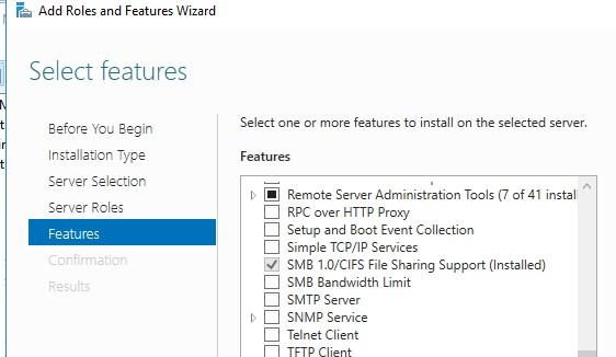 компонент SMB 1.0/CIFS File Sharing Support в Windows Server 2016