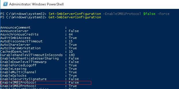 Отключить SMB 1.0 в Windows 10/ Server 2016