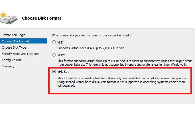 VHD Set формат виртуальных дисков в Windows Server 2016