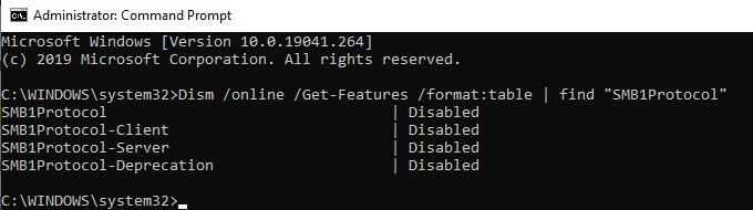 dism проверить что протокола SMB1Protocol установлен в windows 10
