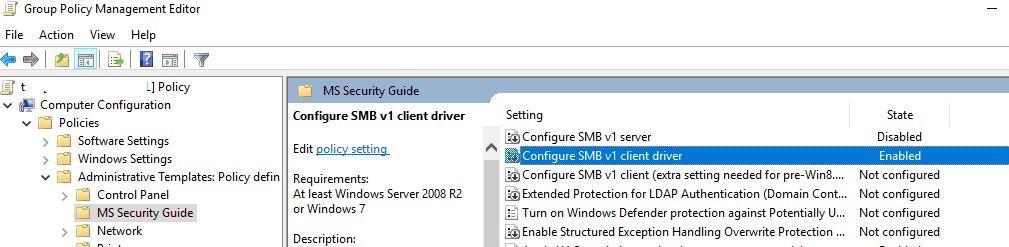 групповая политика для включения/отключение smbv1 сервера и клиента