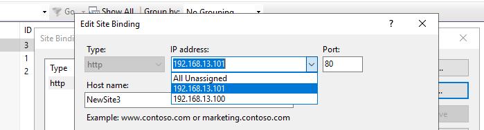 привязать сайт IIS к новому IP адресу