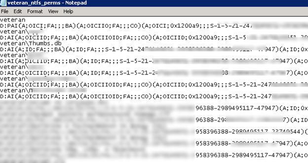 разрешения на файлы и каталоге в формате sddl