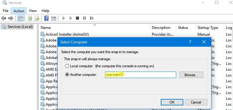 services.msc подключение к списку служб на удаленном компьютере
