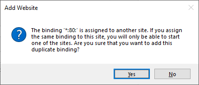 The binding '*:80:' is assigned to another site