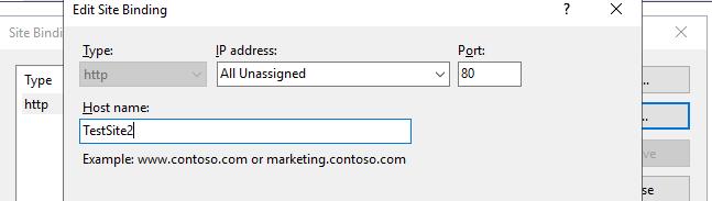 указать новый hostname в iis site bindings