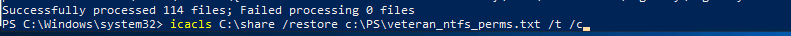 восстановление ntfs разрешений каталога icacls.exe