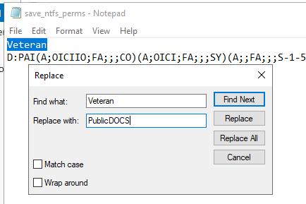 вручную заменить целевой каталог при копировании NTFS разрешений папки