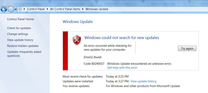 80240037 Windows Update encountered an unknown error