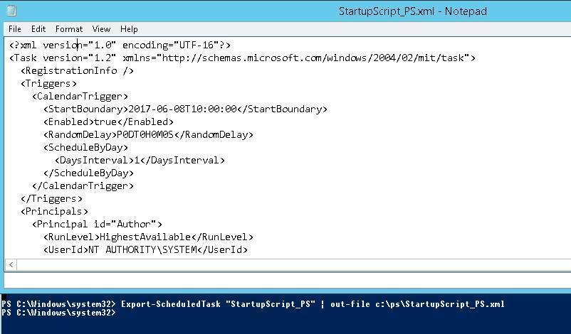 Export-ScheduledTask в XML - сохранить настройки задания в файл
