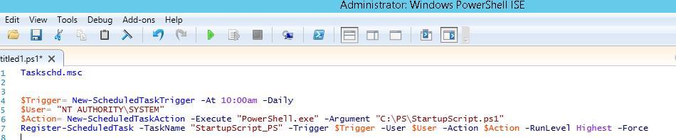 Register-ScheduledTask - Windows 10 / Windows Server 2012 R2