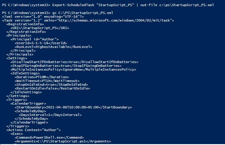 Export-ScheduledTask - импорт задания планировщика в xml файла