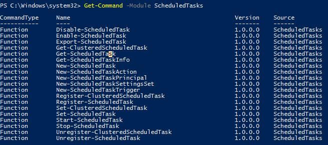 powershell командлеты из модуля ScheduledTasks