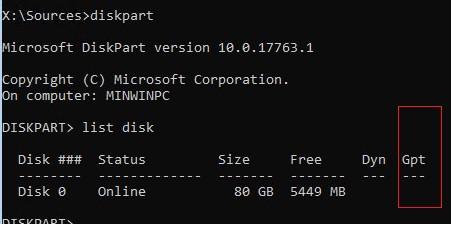 проверить тип разметки диска gpt или mbr