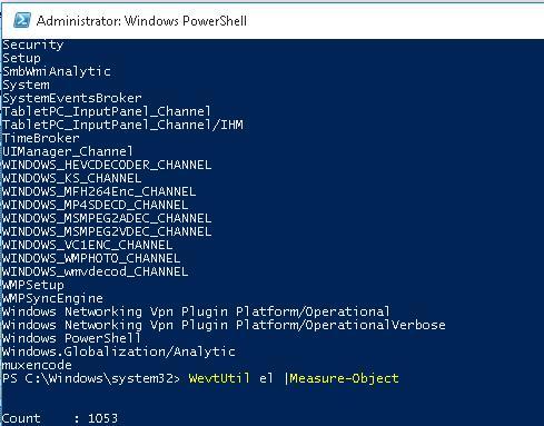 WevtUtil el - вывод всех доступных журналов в Windows