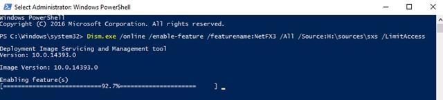 Dism.exe /online /enable-feature /featurename:NetFX3 /All /Source:D:\sources\sxs /LimitAccess