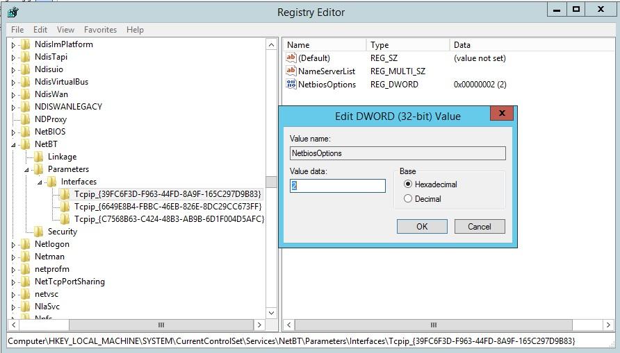 NetbiosOptions - отключение netbios через реестр