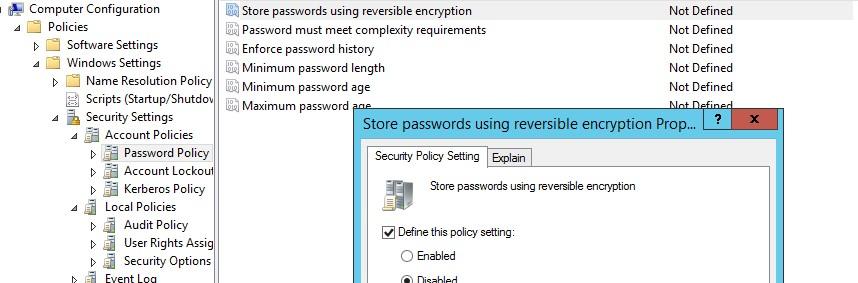 Store password using reversible encryption for all users in the domain - запрет хранения пароля с обратимым шифрованием