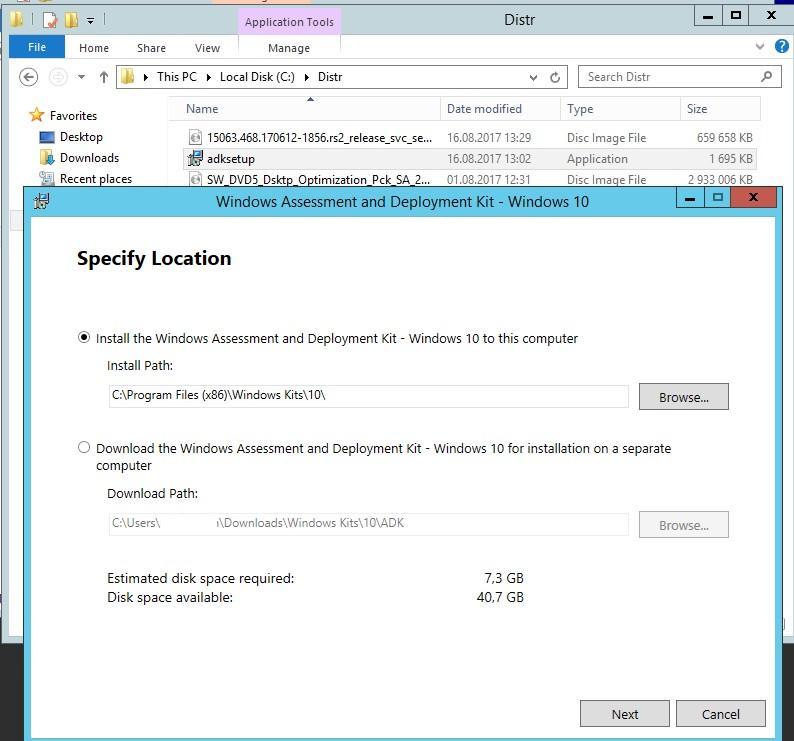 установка Windows ADK 10