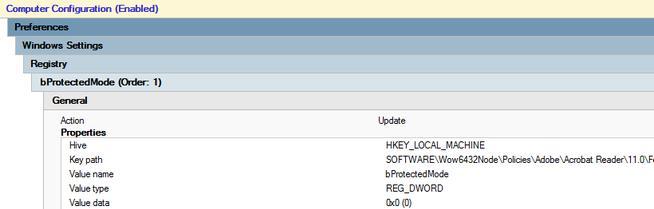 Настройка параметра Adobe bProtectedMode через групповую политику