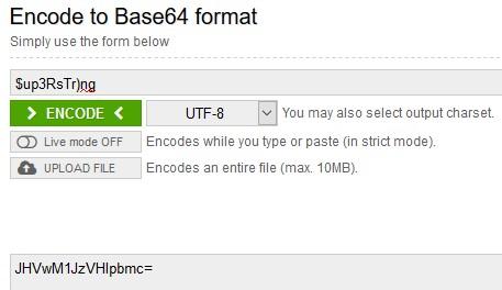 конвертация имени и пароля в формат base64