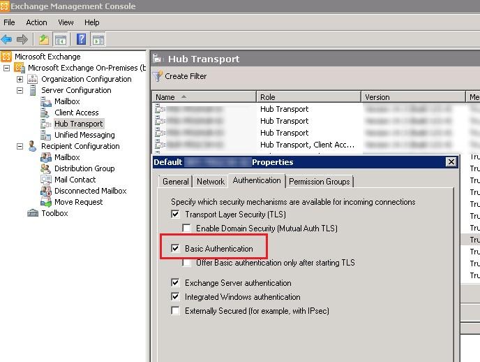 Exchange Server - включена Basic-Authentication
