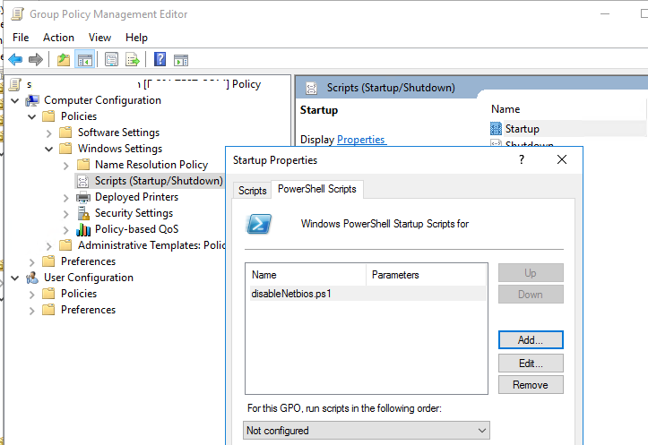 групповая политика для отключения NetBios в Windows с помощью скрипта PowerShell