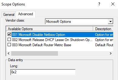 Отключение NetBios ддя клиентов DHCP опцией 001 Microsoft Disable Netbios Option