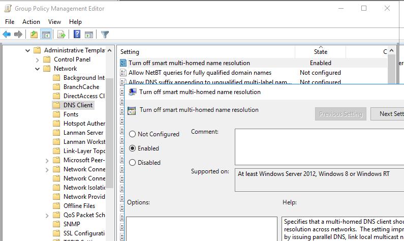 отключение протокола LLMNR через GPO Turn off smart multi-homed name resolution