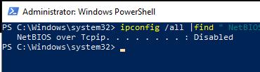 проверить, что netbios отключен NetBIOS over Tcpip. . . . . . . . : Disabled