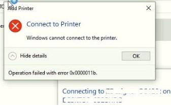 ошибка 0x0000011b при подключении сетевого принтера в Windows 10