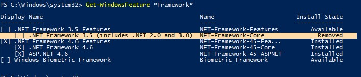 windows server 2019 status компонента NET-Framework-Core в хранилище Removed