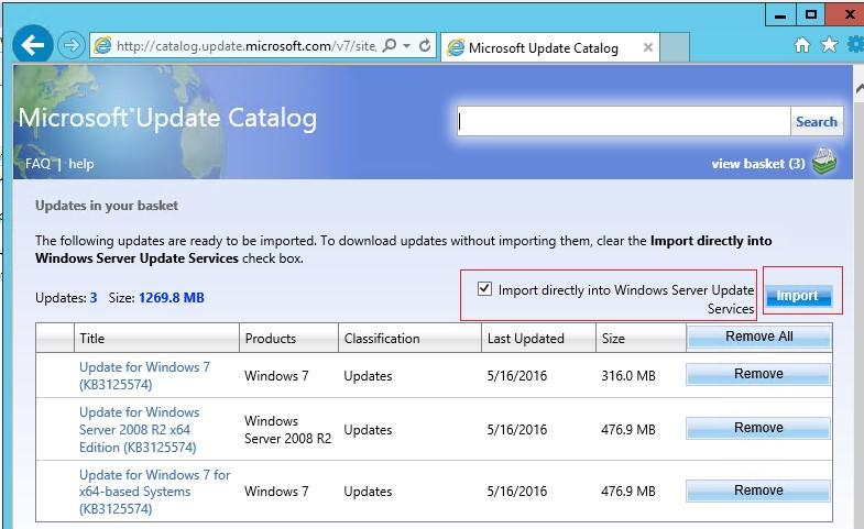 Корзина обновлений для импорта на сервер WSUS