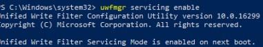 Uwfmgr servicing enable режим обслуживаний Windows 10 с включенным фильтром UWF