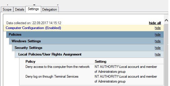 запрет доступа по сети под локальным администратором