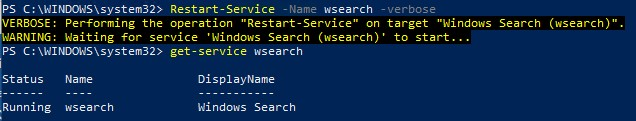 powershell перезапустить службу поиска windows