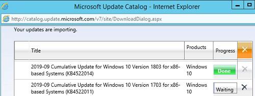 ручная загрузка обновлений на сервер wsus из microsoft update catalog