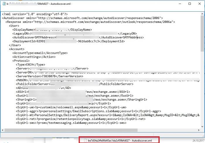 Файл Autodiscover.xml с настройками подключения к Exchange