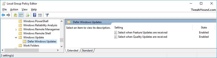 политики Defer Windows Updates