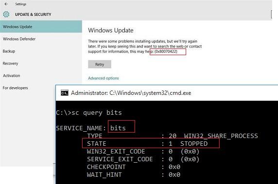 Ошибка обновлений windows update