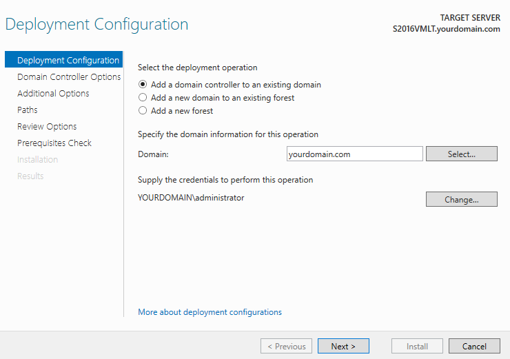 Add a domain controller to an existing domain