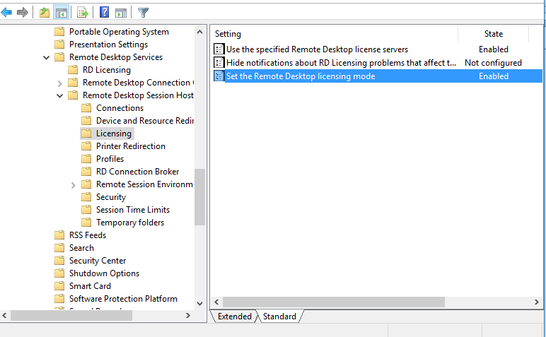 GPO -> Remote Desktop Session Host -> Licensing