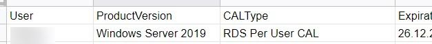 отчет об использовании лицензий rds per user cal с помощью powershell