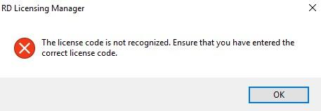 rds ошибка неверный код при добавлении лицензий RDS CAL