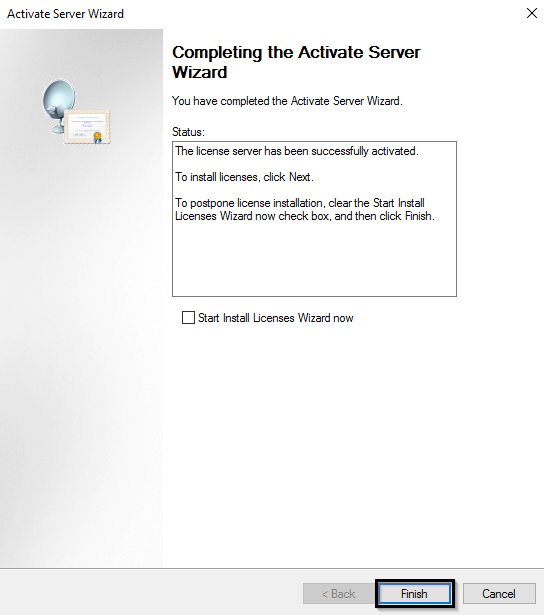 сервер лицензирования RDS успешно активирован