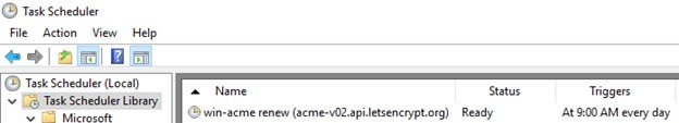 задание планировщика Windows для обновления tls сертфиката letsencrypt через win acme renew
